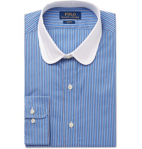 Slim-fit Penny-collar Striped Cotton Shirt