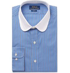 폴로 랄프로렌 Polo Ralph Lauren Slim-Fit Penny-Collar Striped Cotton Shirt,Blue