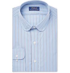 폴로 랄프로렌 Polo Ralph Lauren Slim-Fit Penny-Collar Striped Cotton-Poplin Shirt,Navy