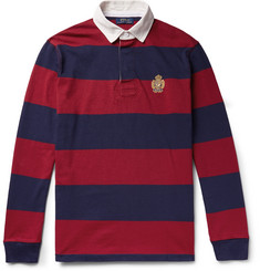 Polo Ralph Lauren - Logo-Embroidered Twill-Trimmed Striped Cotton-Jersey Rugby Shirt