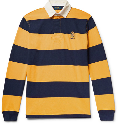 Logo Embroidered Twill Trimmed Striped Cotton Jersey Polo Shirt by Polo Ralph Lauren