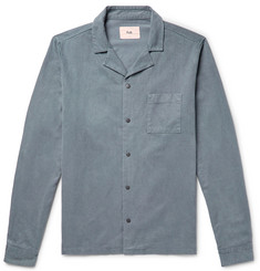 Folk - Camp-Collar Brushed Lycocell and Cotton-Blend Twill Shirt