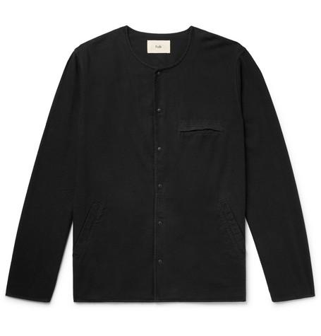 Collarless Cotton Shirt by Folk