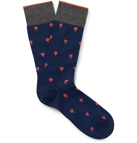 MARCOLIANI Hot Air Balloon Intarsia Pima Cotton-Blend Socks