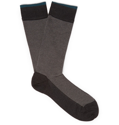 MARCOLIANI Patterned Pima Cotton-Blend Socks
