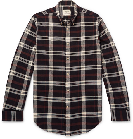 Flloyd Button Down Collar Checked Cotton Flannel Shirt by Bellerose