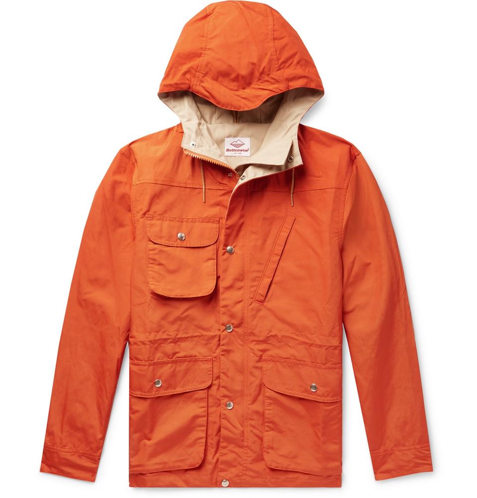Cotton And Nylon-blend Hooded Parka - Orange