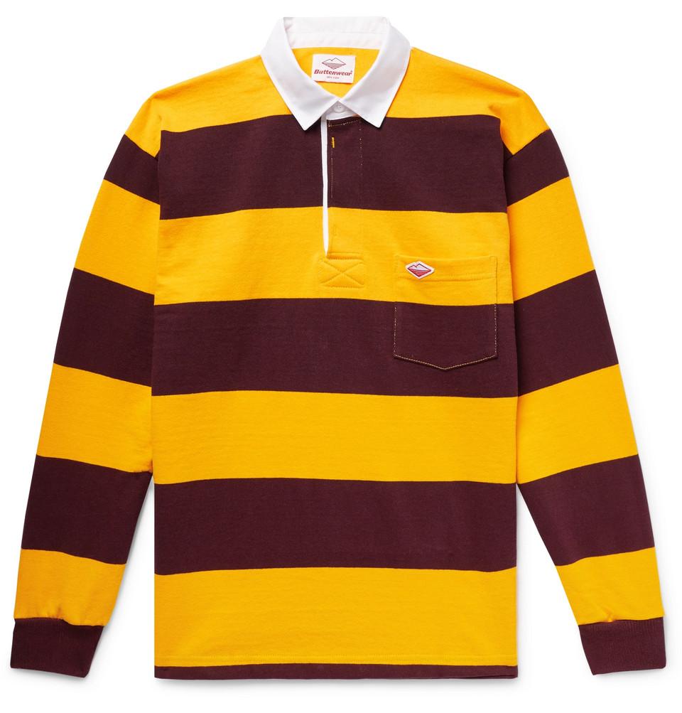 Striped Cotton-jersey Polo Shirt - Saffron
