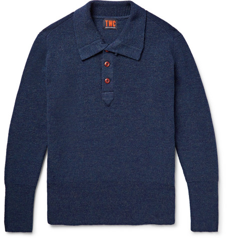 THE WORKERS CLUB Ribbed Merino Wool Half-Placket Sweater in Storm Blue