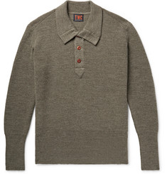 The Workers Club - Ribbed Merino Wool Half-Placket Sweater