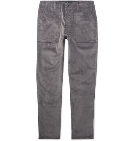 THE WORKERS CLUB Tapered Cotton-Corduroy Trousers in Gray