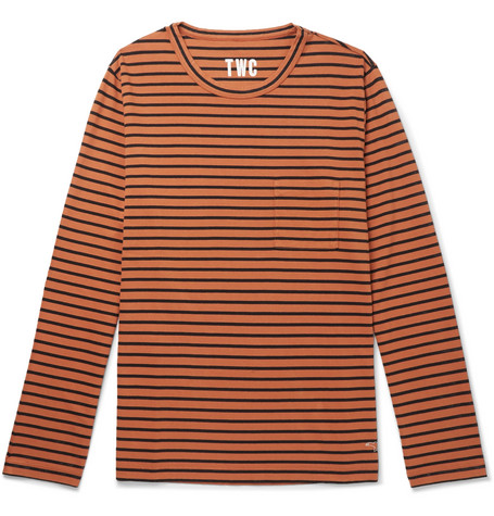 THE WORKERS CLUB Striped Cotton-Jersey T-Shirt in Orange