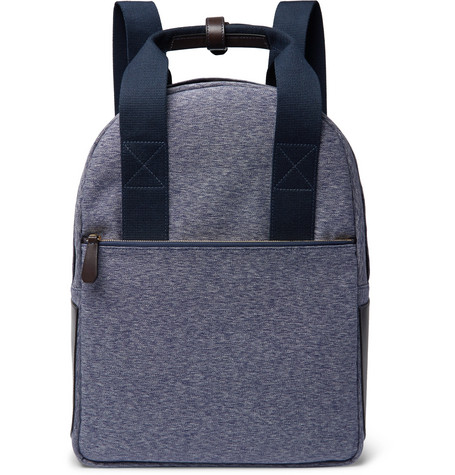 THE WORKERS CLUB Leather-Trimmed Canvas Backpack in Blue