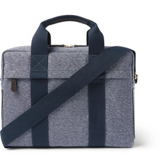 The Workers Club - Leather-Trimmed Canvas Briefcase