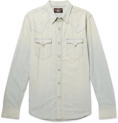 79cb82f26b Rrl Buffalo Slim-Fit Washed-Denim Western Shirt - Light Blue ...