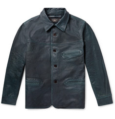 RRL Indigo-Dyed Leather Jacket