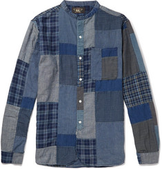 RRL Grandad-Collar Patchwork Cotton-Blend Shirt