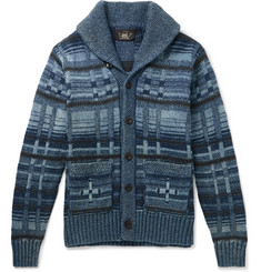 RRL Shawl-Collar Intarsia Cotton-Blend Cardigan