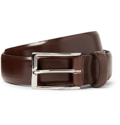 J.Crew 3cm Dark-Brown Glossed-Leather Belt