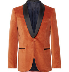 MP Massimo Piombo Burnt-Orange Slim-Fit Grosgrain-Trimmed Cotton-Velvet Blazer