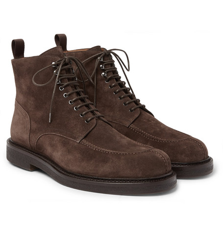 MR P. Jacques Shearling-Lined Suede Boots - Chocolate