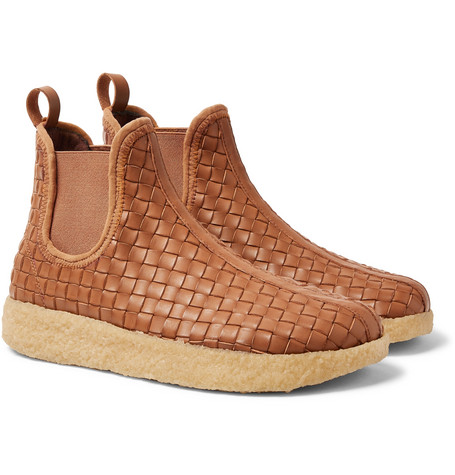 MALIBU Garden Woven Faux Leather Boots in Brown