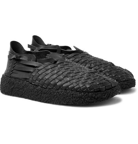 MALIBU Latigo Woven Faux Leather Sandals in Black