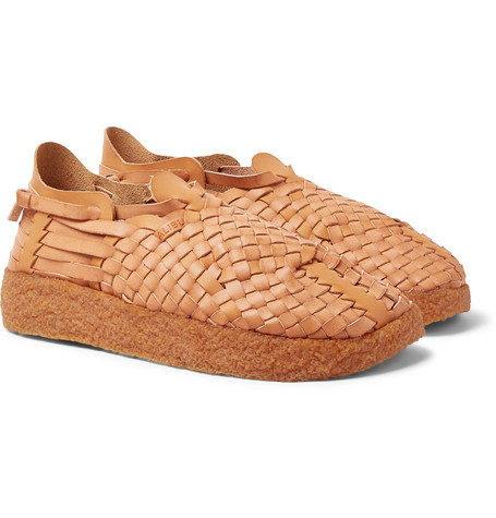 MALIBU Latigo Woven Faux Leather Sandals - Tan