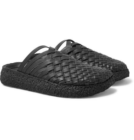 MALIBU Colony Woven Faux Leather Sandals in Black