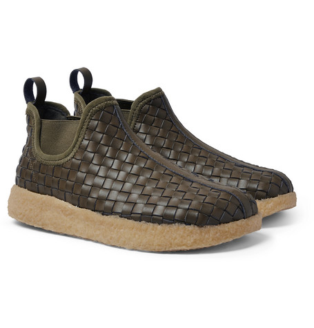 Woven Faux Leather Boots - Army Green