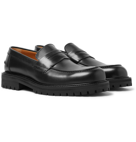 Jacques Leather Penny Loafers - Black