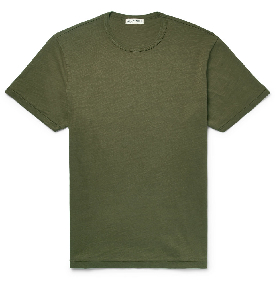 Slub Cotton-jersey T-shirt - Army green