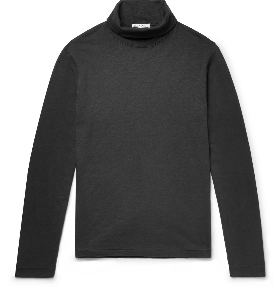 Slub Cotton-jersey Rollneck T-shirt - Black