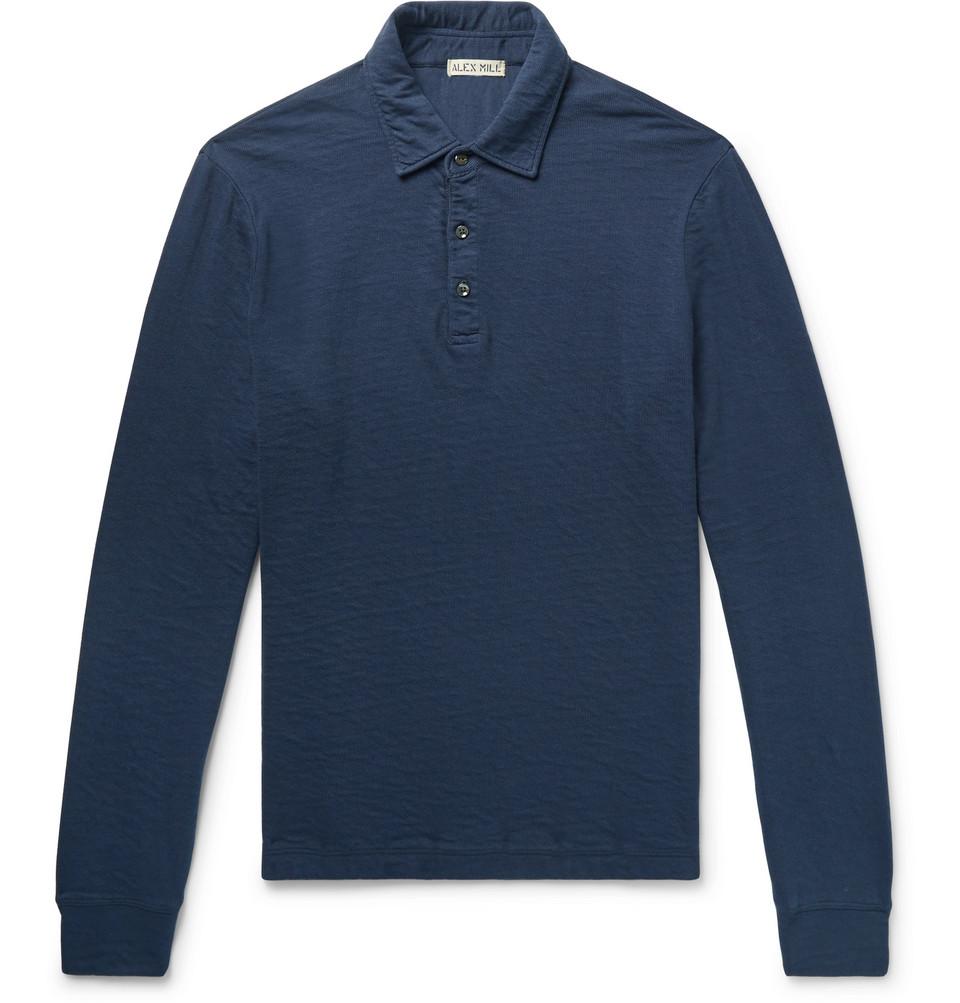 Double-faced Cotton Polo Shirt - Navy