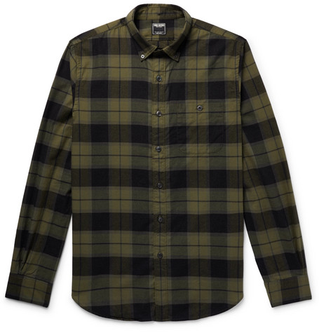 Todd Snyder BUTTON-DOWN COLLAR CHECKED COTTON-FLANNEL SHIRT - ARMY GREEN