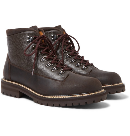 MR P. Jacques Shearling-Lined Waterproof Waxed-Suede And Full-Grain Leather Boots - Brown
