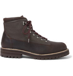 Mr P. Jacques Shearling-Lined Waterproof Waxed-Suede And Full-Grain Leather Boots