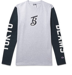 Beams + Champion Printed Cotton-Blend Jersey T-Shirt
