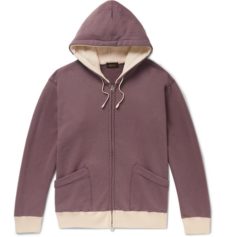 Chimala Contrast-trimmed Loopback Cotton-jersey Hoodie In Grape