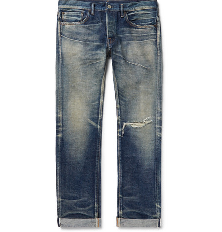 FABRIC BRAND & CO. Abram Slim-Fit Distressed Selvedge Denim Jeans in Blue