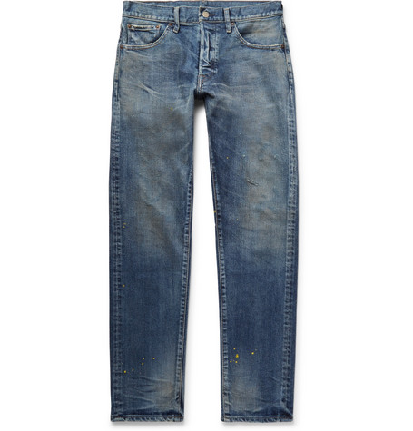 FABRIC BRAND & CO. Rake Distressed Stretch-Denim Jeans in Mid Denim