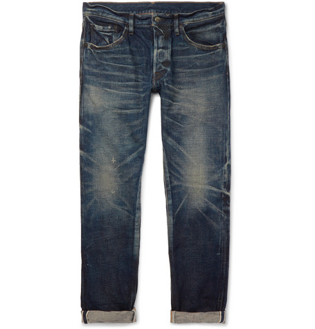 FABRIC BRAND & CO. Aksel Slim-Fit Distressed Selvedge Denim Jeans in Indigo