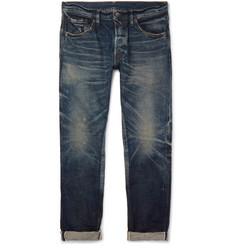 Fabric-Brand & Co Aksel Slim-Fit Distressed Selvedge Denim Jeans