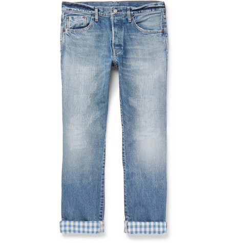 FABRIC BRAND & CO. Hai Slim-Fit Distressed Selvedge Denim Jeans in Blue