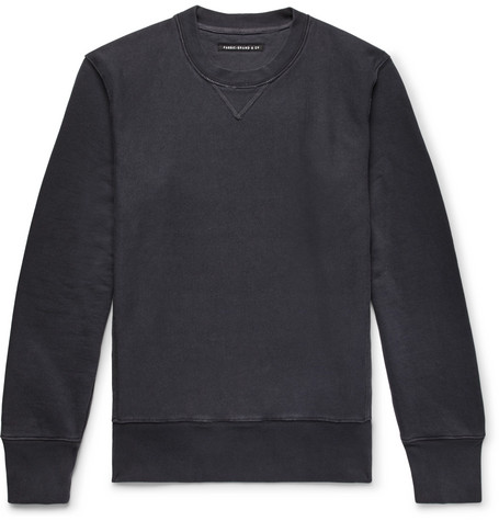 FABRIC BRAND & CO. Loopback Cotton And Linen-Blend Jersey Sweatshirt in Midnight Blue