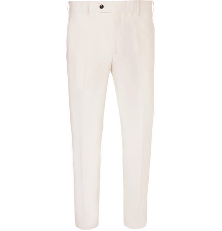 White Slim Fit Linen Suit Trousers by Mp Massimo Piombo