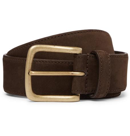 3.5cm Dark Brown Suede Belt by Anderson & Sheppard