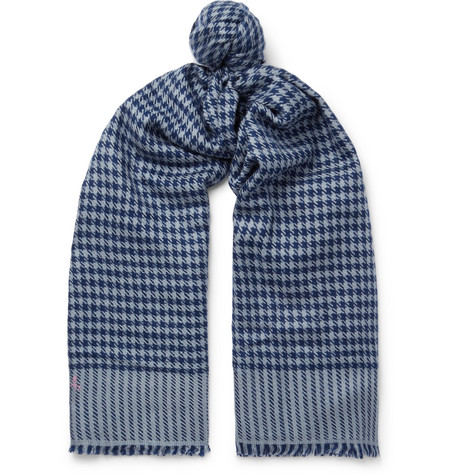 ANDERSON & SHEPPARD Houndstooth Cashmere Scarf - Blue - One Siz