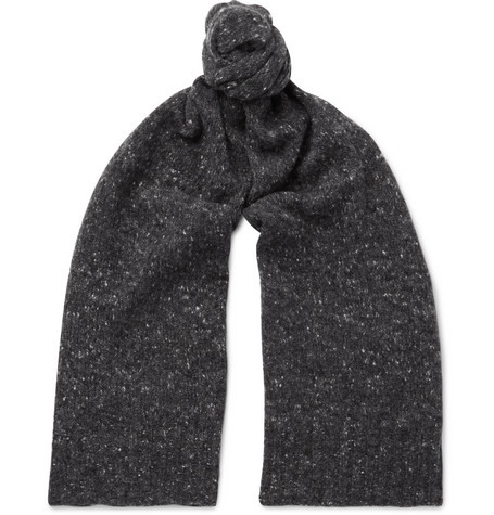 ANDERSON & SHEPPARD Donegal Wool-Blend Scarf in Gray