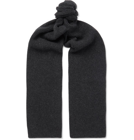 ANDERSON & SHEPPARD Ribbed Cashmere Scarf in Charcoal